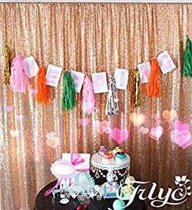 TRLYC Sequin Ture Rose Gold Fabric Photography Backdrop, Select you size, Sparkly Ture Rose Gold Sequin Curtain, Best Wedding/Home/Party Fashion Decoration