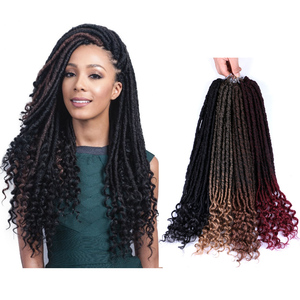 Belleshow Wholesale 20 inch 24 stands ombre faux dreadlocks faux locs crochet hair dreadlock Goddess braids Afo Faux Locs