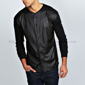 button up contrast sleeves black pu baseball mens shirts