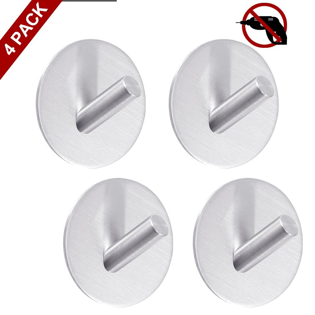 Tonifa Adhesive Bevel Angle Hooks,4 Pack Super High Power Heavy Duty Wall Hooks,304 Stainless Steel Waterproof Hooks with Strong Adhesive Hanging Hook for Coat, Keys, Bags, Bathroom and Kitchen by