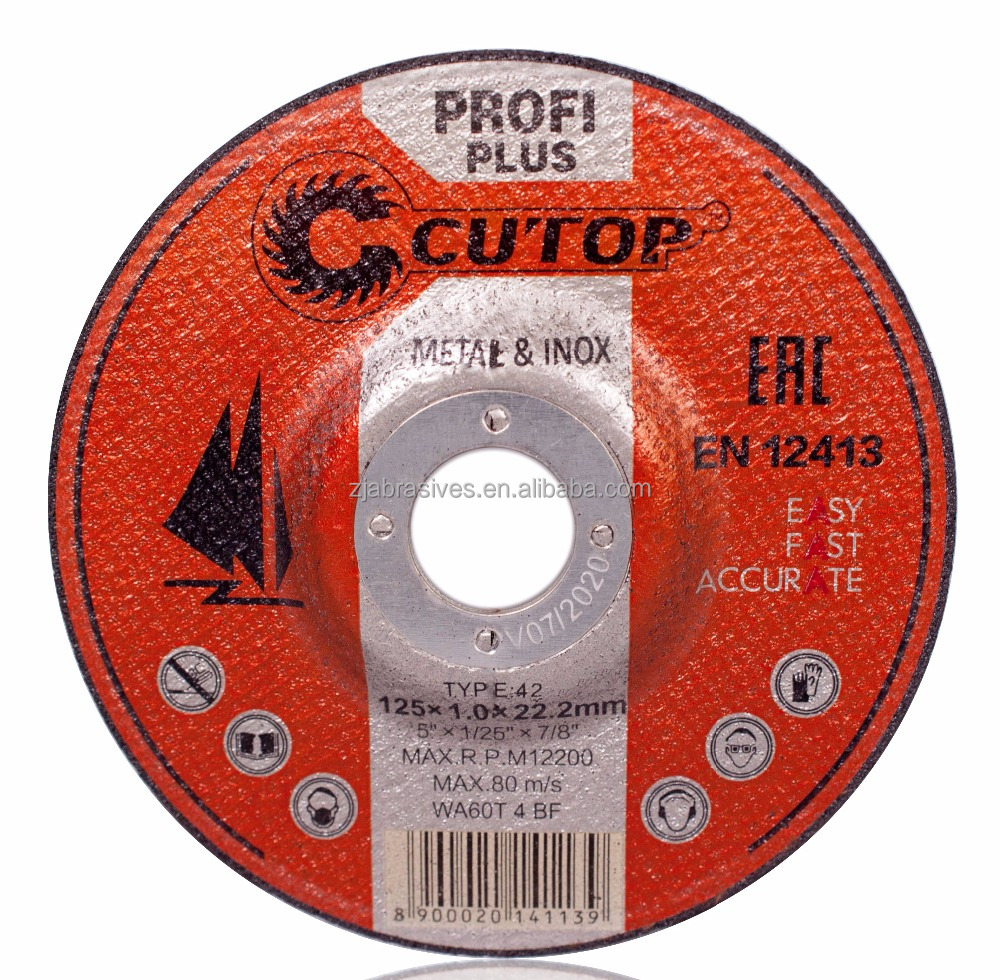 Cutop brand 5 inch stainless steel and metal abrasive grinding and cutting disc for INOX-power abrasives cutting tools PARTS
