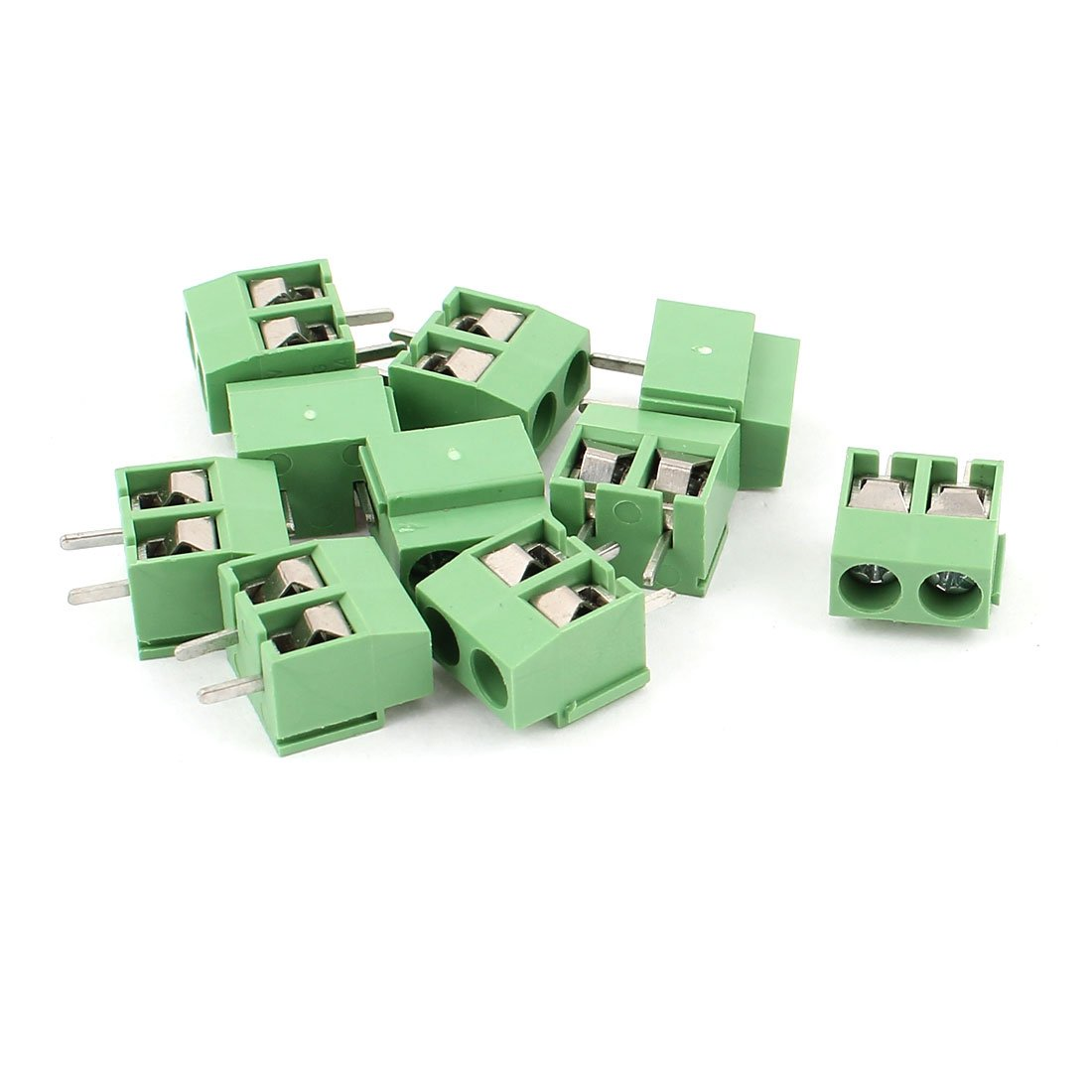 uxcell 10 Pcs AC 300V 10A PCB Screw Terminal Block Connector 4mm Pitch Green