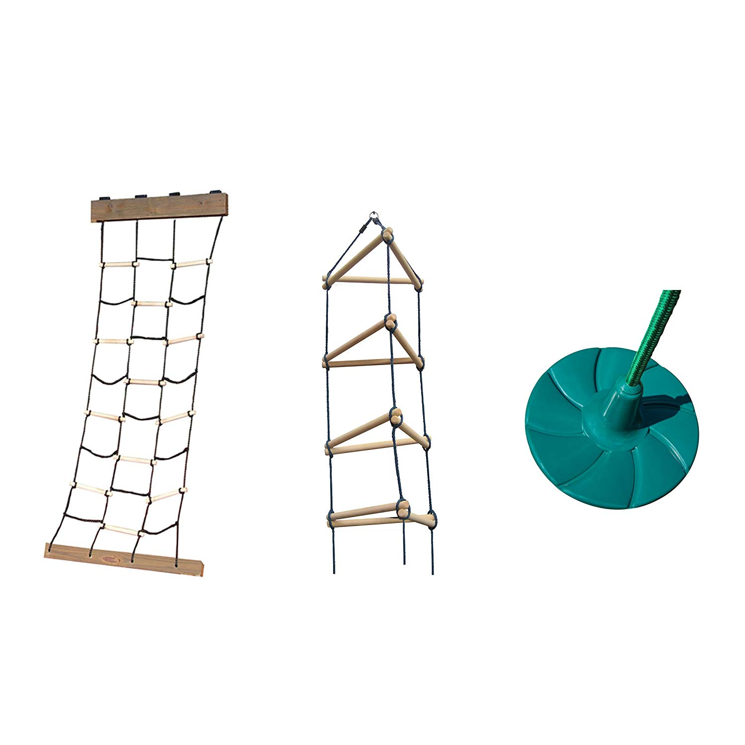 Cargo Climbing Net, Triangle Rope Ladder and Disc Swing Bundle - Includes Climbing Accessories and Disc Swing for Outdoor Swing Sets, Backyard Play Sets, etc.