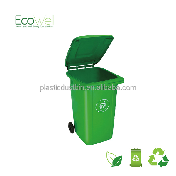 120Litre Plastic Trash Cans , 120L Plastic Dustbins With Two Wheels, Yellow Outdoor Foot Pedal Dustbins,