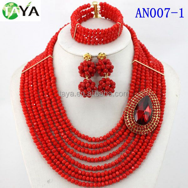 Solid Red Crystal Beads Set Wedding Jewelry Set For Brides Nigerian Wedding Set