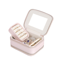 Custom Logo Small Travel Jewelry Box With Two Zippers for Ring and Earrings Necklaces Jewelry Box Organizer Display Storage Case