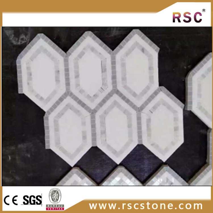 Hexagon black and white marble mosaic floor morsaic tile