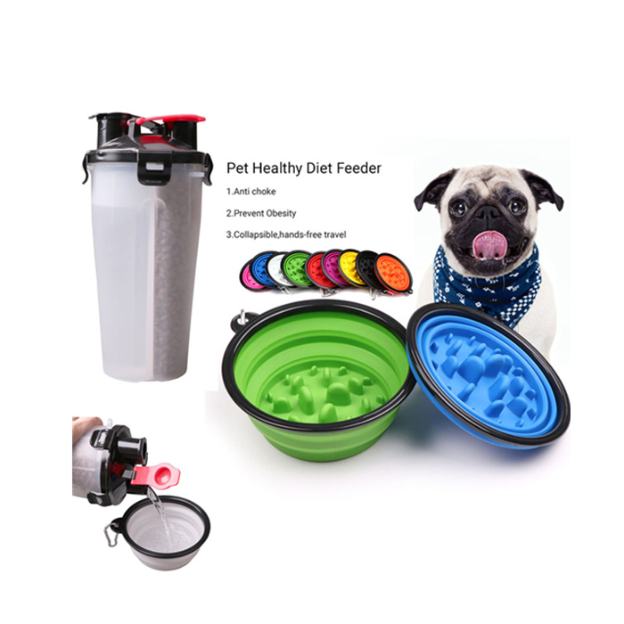 Wholesale 2 in 1 Water and Food Outdoor Eco Friendly Collapsible Travel Anti Choke Non Spill Silicone Slow Eating <strong>Dog</strong> <strong>Bowl</strong>