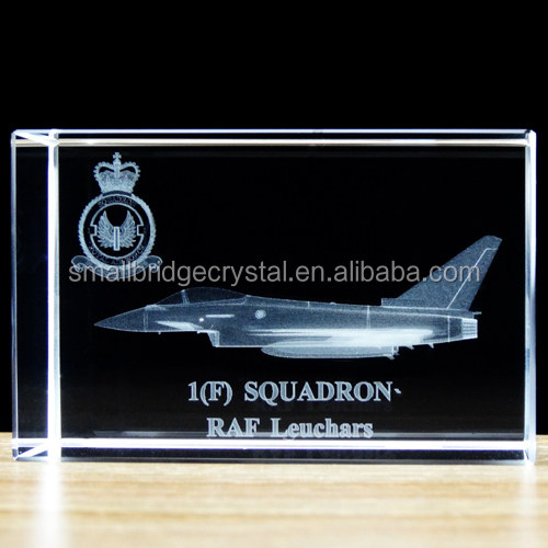 Wholesale 3d Laser Etched Crystal Airplane For Plane Souvenir Gift