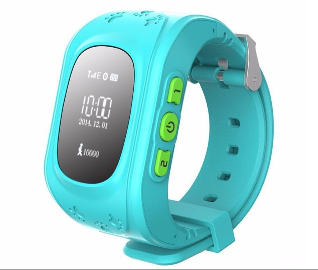 Generic Mini GPS Tracker Watch For Child SOS Emergency Anti Lost GSM Smart Mobile Phone App Bracelet Wristband Alarm and Tracking With 2 Way Communication Locating Fast(Blue)
