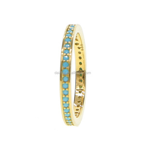 Latest gold filled turquoise paved tiny band rings for women engagement rings in 925 sterling silver rings