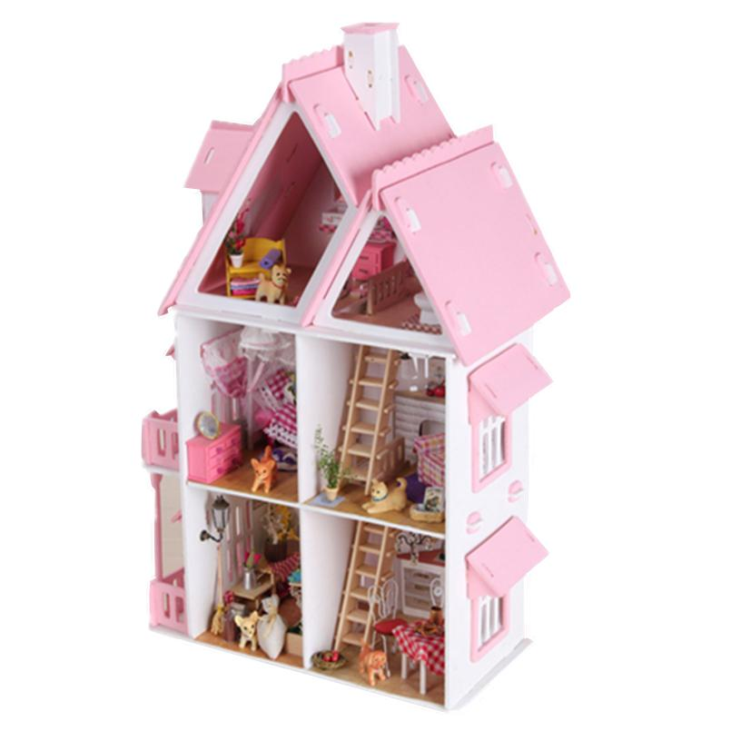 Free Shipping Assembling DIY Miniature Model Kit Wooden Doll House Unique Big Size House Toy With