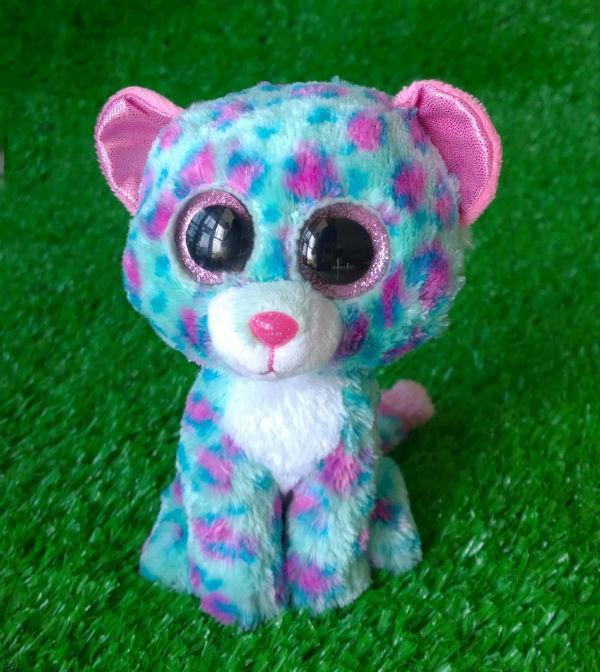 Cute Ty Beanie Boos Stuffed Animal Sydney Blue Leopard 6 15cm Ty