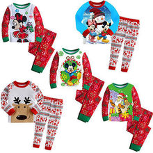 Children Baby Boys Girls Xmas Mickey Reindeer Sleepwear Nightwear Pajamas Set