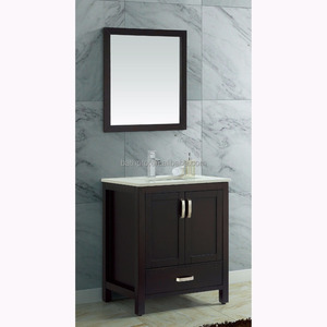 America style Solid wood 30 inch floor standing wooden bathroom vanity with single basin