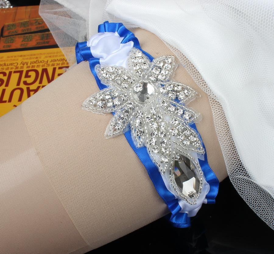 Luxury Rhinestones Blue Stretch Wedding Garter Belt