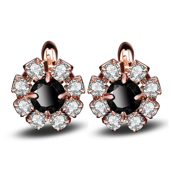 Flower Black Crystal Earrings Women Plating rose gold Fashion Creative Personality Earrings Wholesale