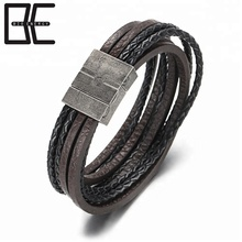 BE Mens Multilayer Genuine Leather Bracelets Bangles Stainless Steel Clasp Rope Jewelry