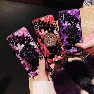 fur ball soft rubber bumper bling diamond glitter case with stand holder/wrist strap(cherry blossoms) for iphone xs max case
