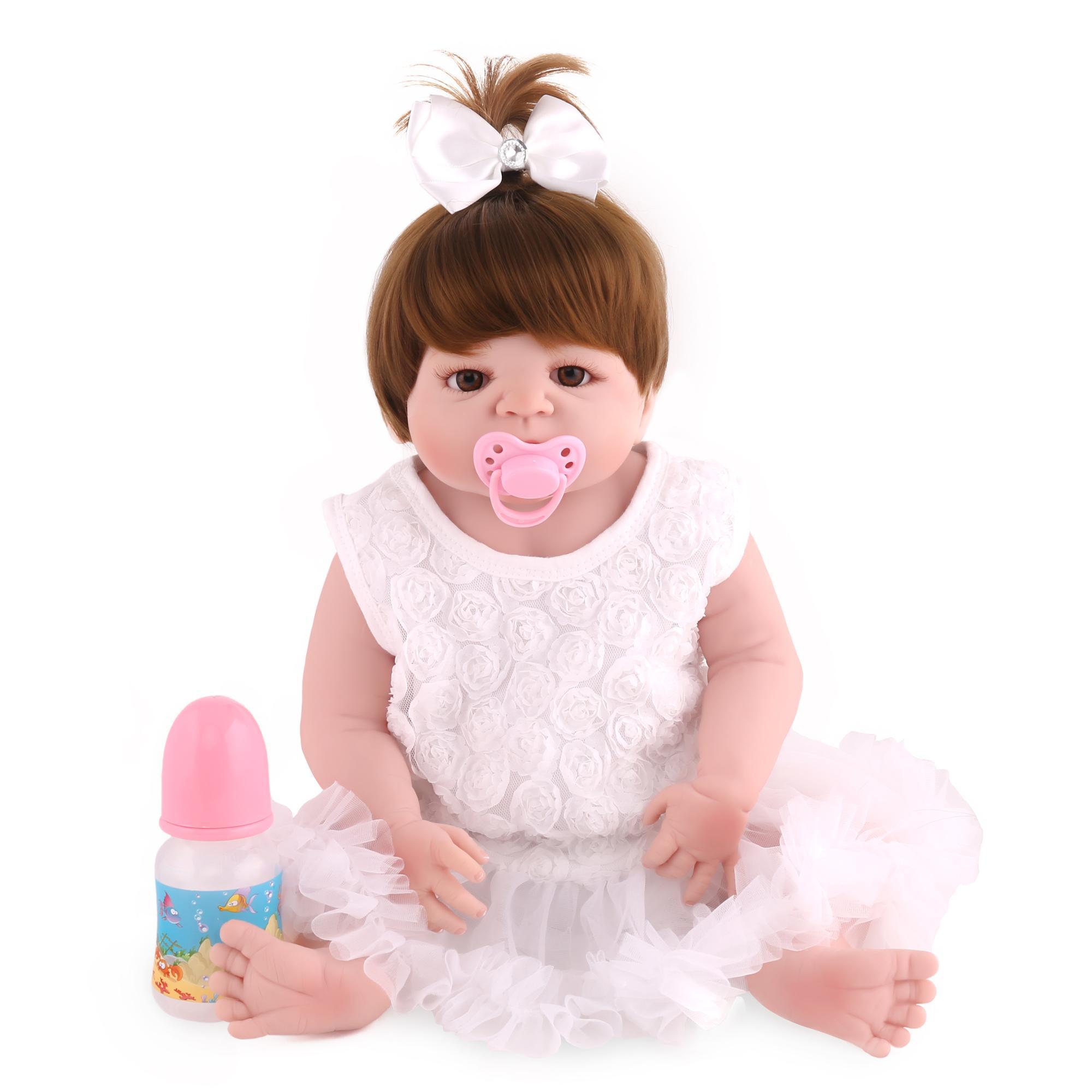 55 cm Tubuh Penuh Silikon Reborn Bayi Boneka Mainan Bayi Manusia Hidup  Reborn Boneka Putri 785302e0a0