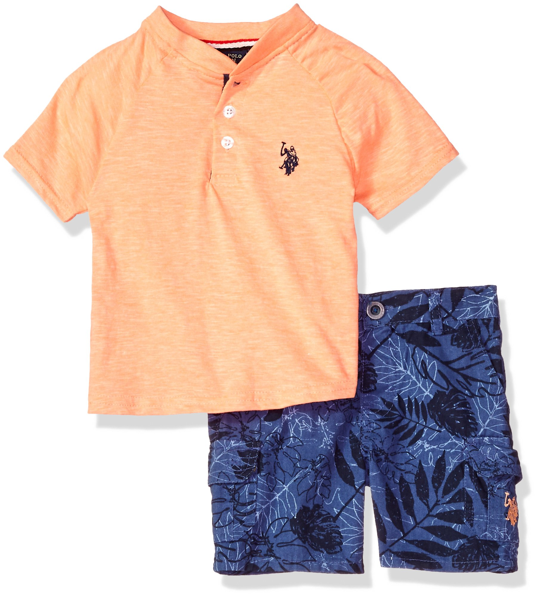 Baby Boys Sleeve Sport Polo Assn U.S T-Shirt and Twill Short Set