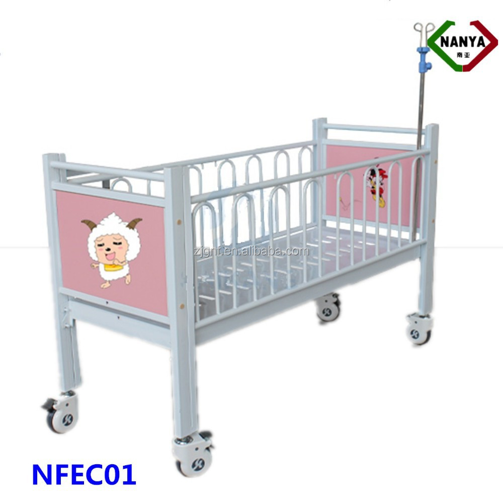 NFEC01 Children hospital bed with side railing, baby cot in hospital