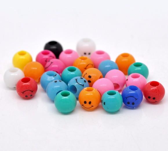 bulk sale custom mixed smiley face plastic spacer beads