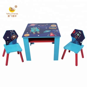 Wooden Kids Table and two Chairs Set Storage Table Bedroom Playroom Nursery Furniture
