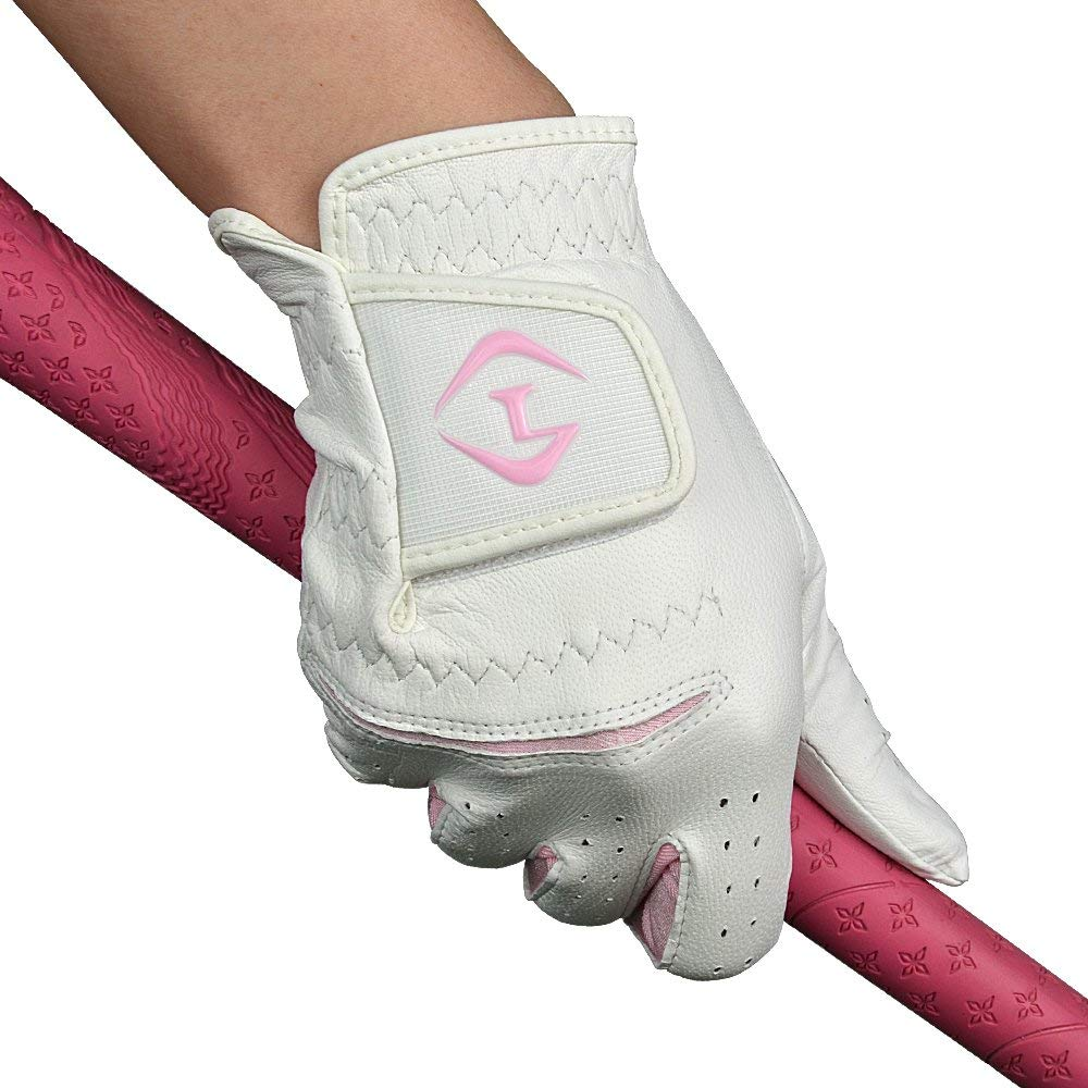 PLAYEAGLE Women Solf Genuine Sheepskin Leather Golf Gloves,Left and Right Hand, White/Pink One Pair
