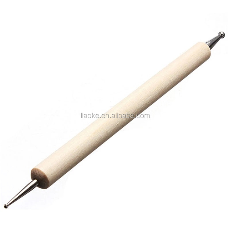 Cheap price free sample available two ends wooden handle nail art dotting pen for nail beauty