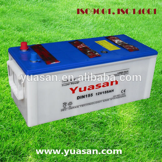 Most Reliable Yuasan Manufacturing Truck Battery Rechargable DIN Dry Car Battery 12V 155AH
