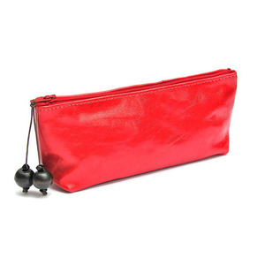Red Leather Makeup Bag Cosmetic Makeup Pouch With Custom Logo