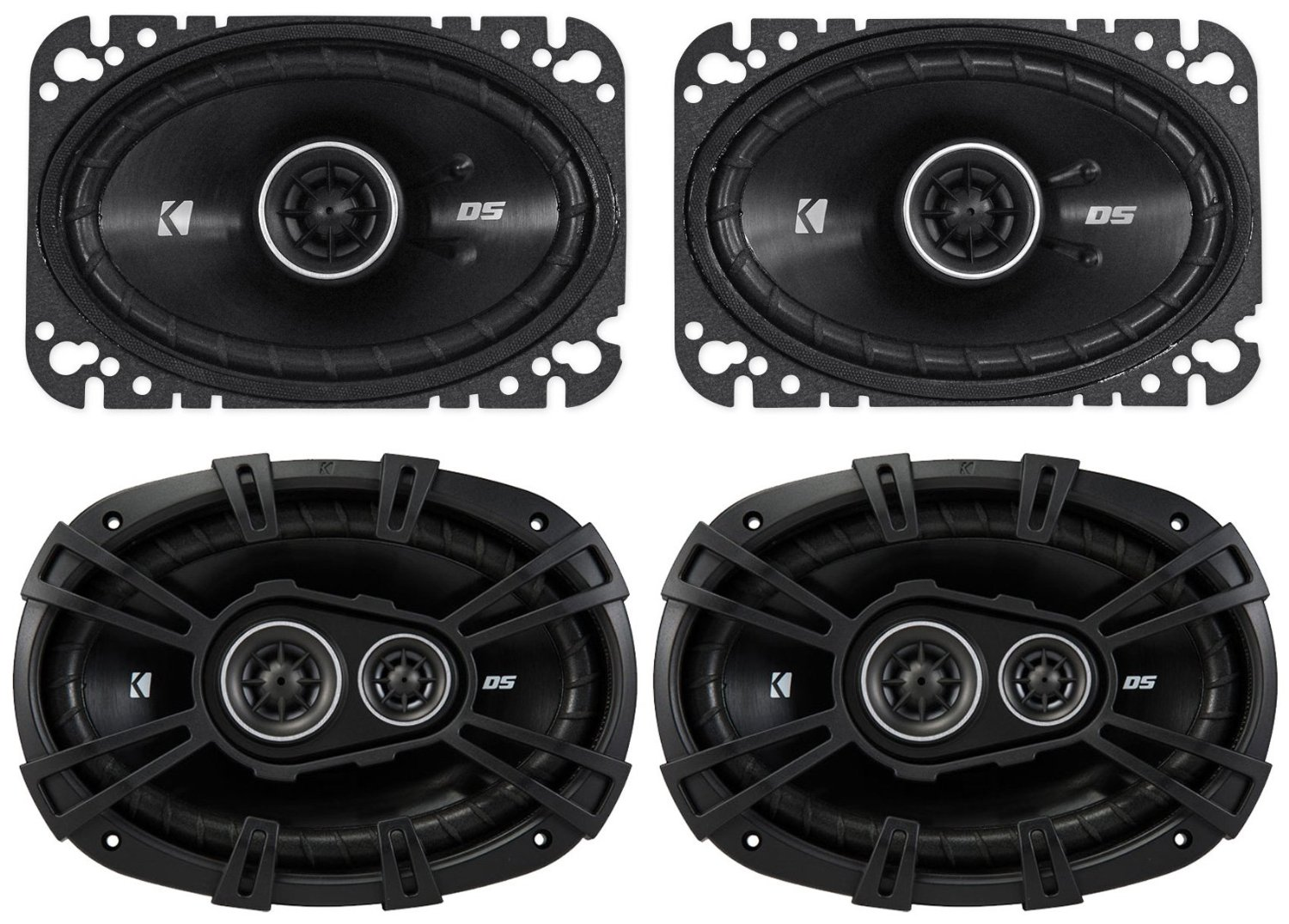 "Package: Pair of Kicker 43DSC4604 120 Watt 4x6 2-Way Car Stereo Speakers + Pair of Kicker 43DSC69304 6""x9"" 360 Watt 3-Way Speakers With 4-Ohm Impedance"