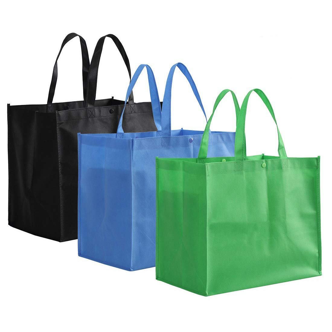 Eco Friendly Custom Logo Printing Large Reusable Handle Grocery woven shopping bags