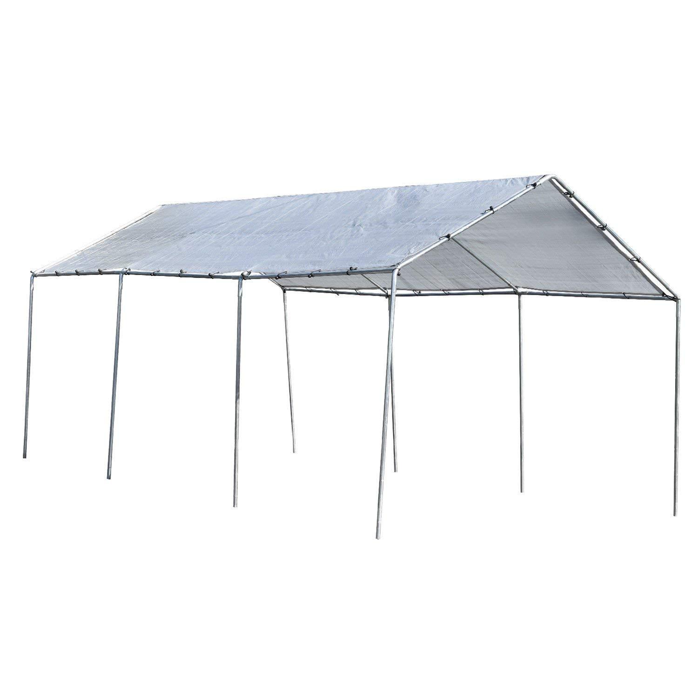 ESKALEX>>Heavy Duty All Purpose Canopy 12' ft. X 20' ft. 3 Section Car Port Flea Market And Heavy Duty All Purpose Canopy, 3 Sections Ideal for Boat Cover, Car Ports, Garden Centers, Patio Covers,