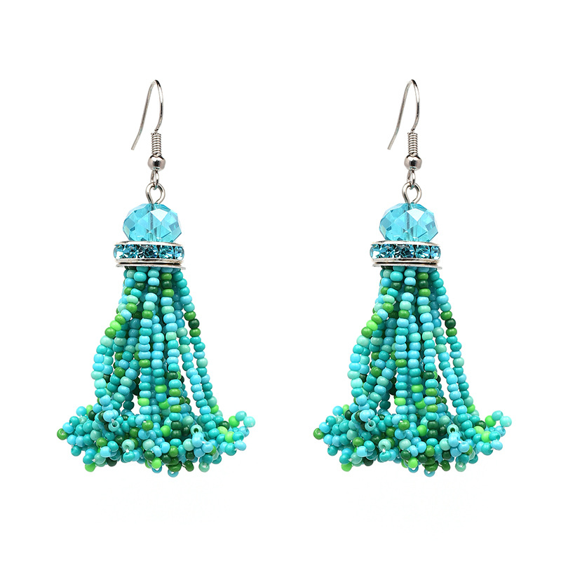 2018 Fashion Women Crystal Eardrop Beaded Dangle Colorful Seed Bead Tassel Earrings