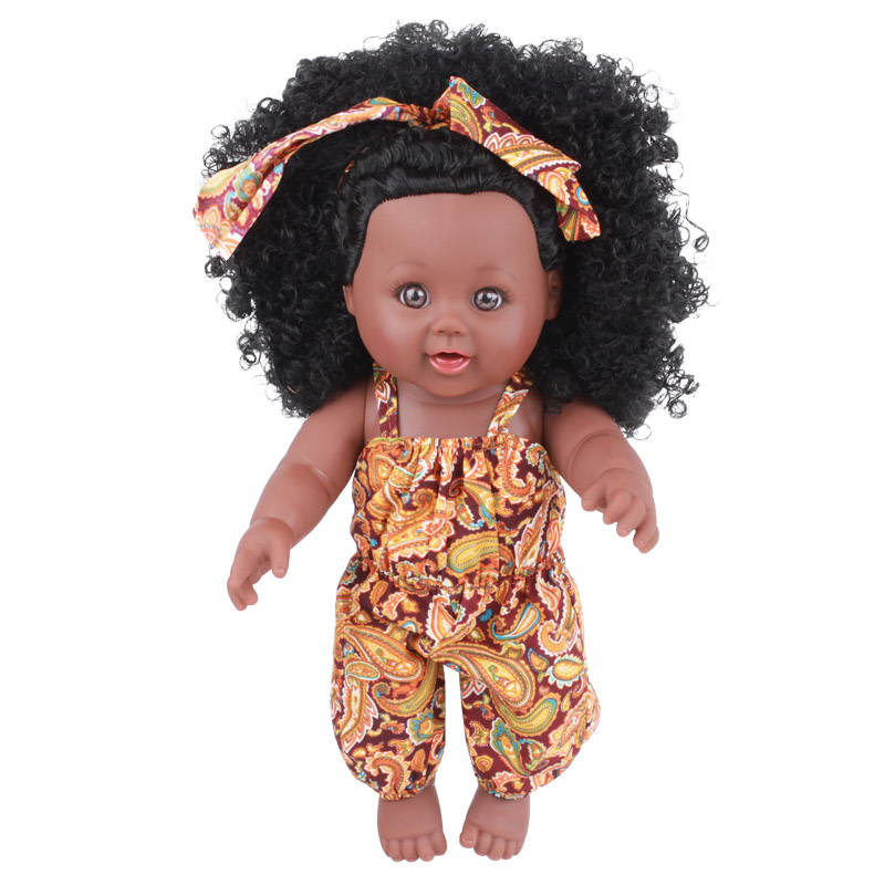 12 inch african american girl <strong>doll</strong> with curl hair