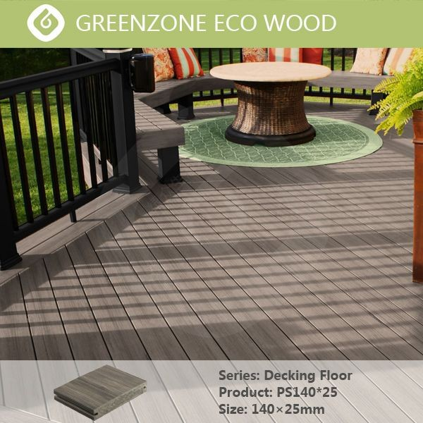 Natural style high quality easy to maintain wpc composite decking solid