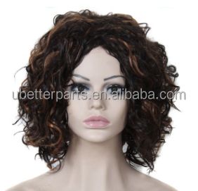 Medium Curly Kinky Afro Wigs for African American Women High Quality Cheap Synthetic Wigs Heat Resistant Fashion Cosplay Wigs