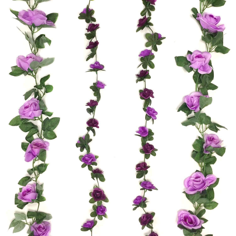 Zerodeco 4 Pack Artificial Fake Rose Silk Flower with Green Leaf Vine Plastic Hanging Vine Garland Artificial Flora Wreath Wedding Party Garden Wall Valentine Decoration - Purple and Lavender