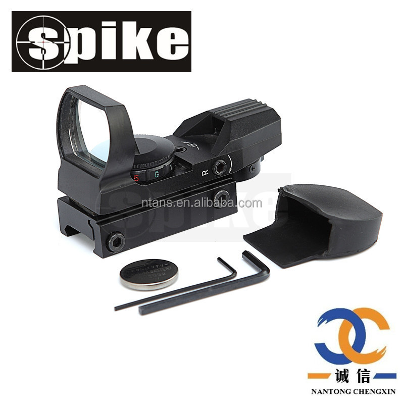 Spike AR 15 Red Dot Open Reflex Sight with 4 Type Reticle for Hunting Riflescope, Pistol, Anodized black