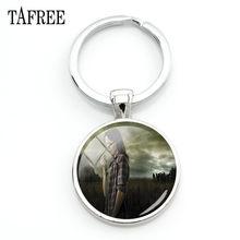 TAFREE брелок в виде ходячих мертвой фигуры, серебристый металлический стеклянный брелок с кабошоном, кулон, веер, подарок, QF179(China)
