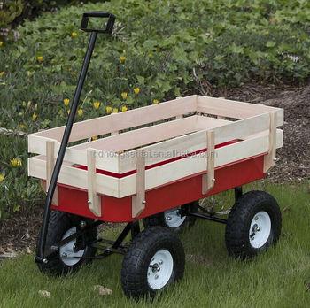 All Terrain Big Wheel Little Red Kids Wooden Garden Pull Wagon Cart