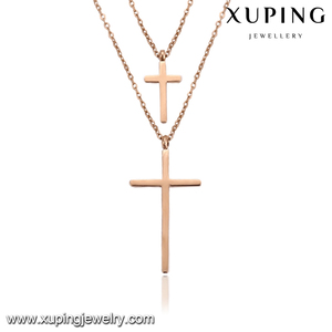 necklace-00252 xuping Double cross rose gold plated Stainless Steel pendant necklace
