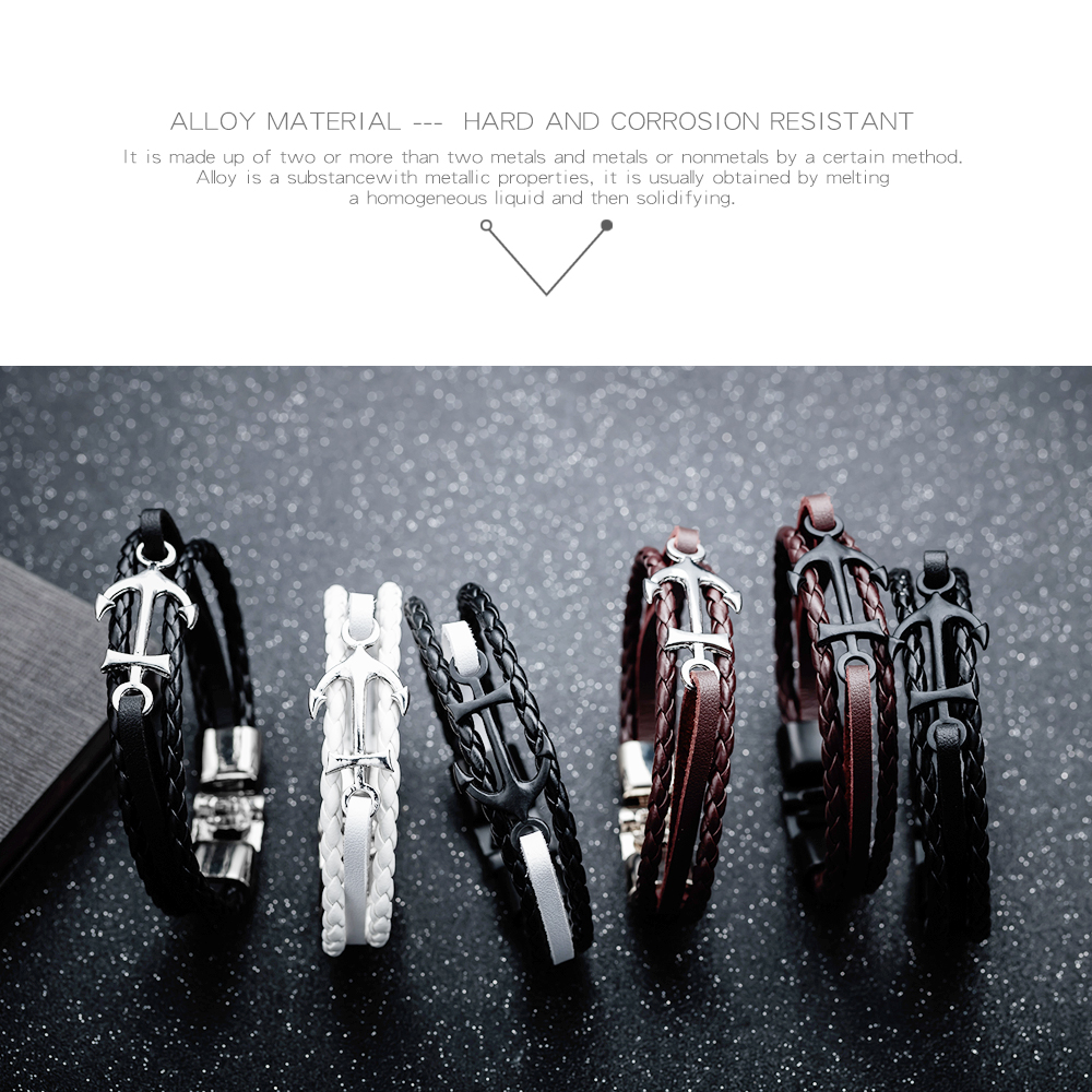 Alibaba Wholesale Handmade Jewelry Black Anchor Navy Brown Leather Bracelet For Men