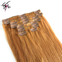Full head Set 18inch Clip In Human Hair Extension, Russian virgin hair wholesale thick clip in extentions