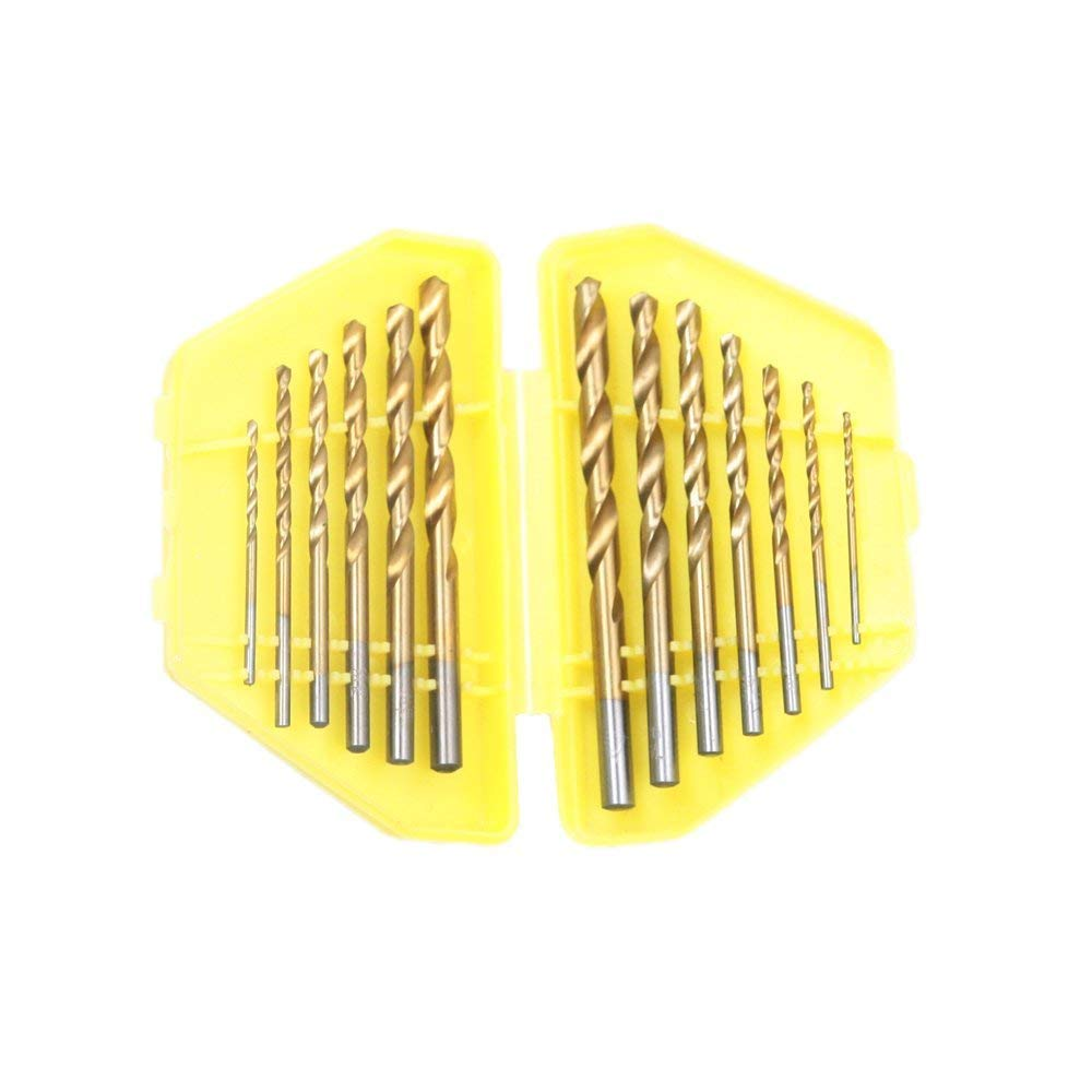 13 Pcs 1.5mm - 6.5mm HSS Titanium Quick Change Twist Drill Bits Set Metric