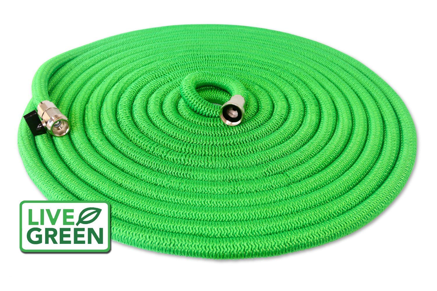 Heavy Duty 75 ft Green Expandable Garden Hose | All New Design- Lifetime Warranty | Nickel Plated Brass Fittings | Nozzle Included (75, Green)