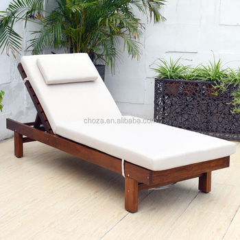 F40908A 1 Simple Design Outdoor Furniture Wooden Beach Lounge Chair With  Canopy
