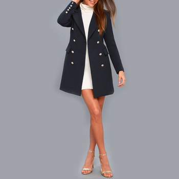 OEM ODM Service Autumn Winter Long Sleeve Flap Pockets Korean Double Breasted Navy Blue Women Coat With Gold Buttons